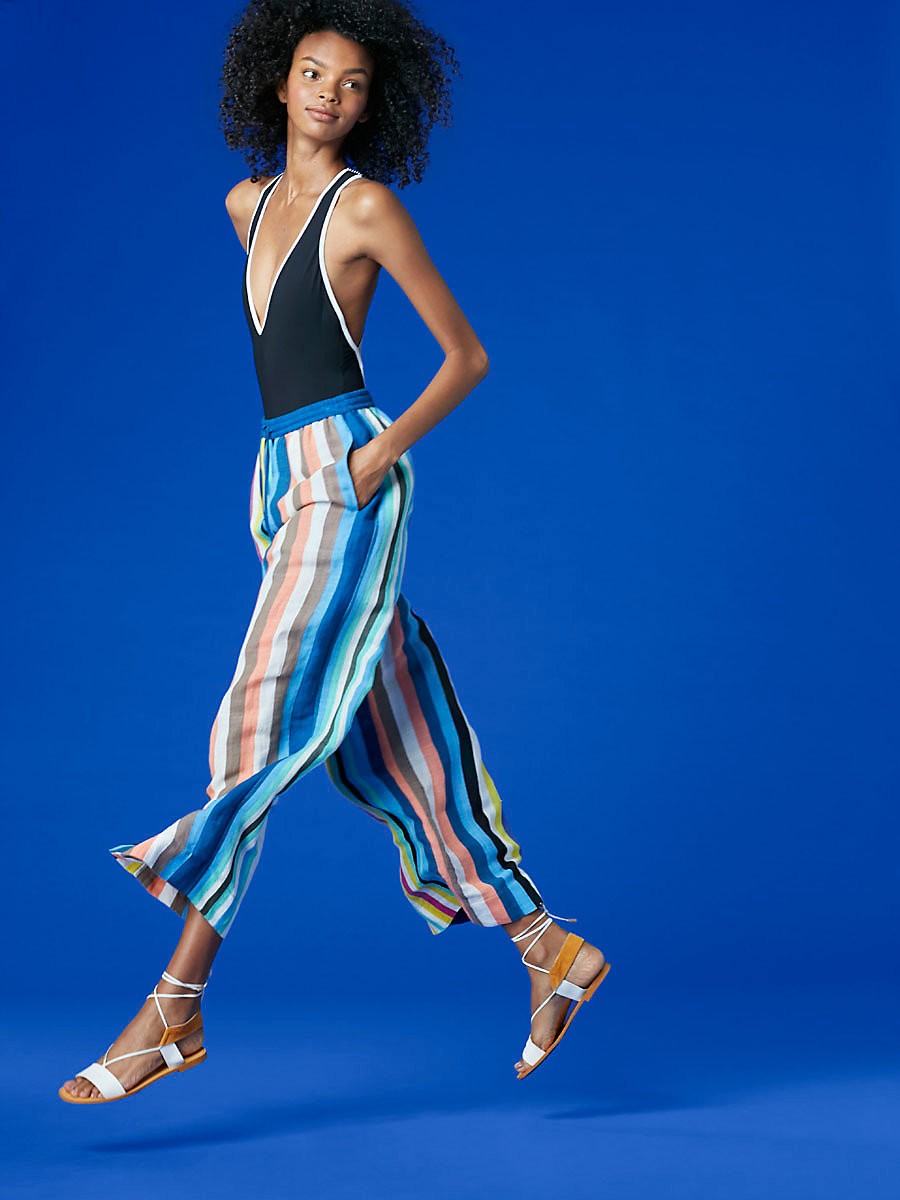 Beach Wide Leg Pant in Owen Stripe Multi/ Ink by DVF