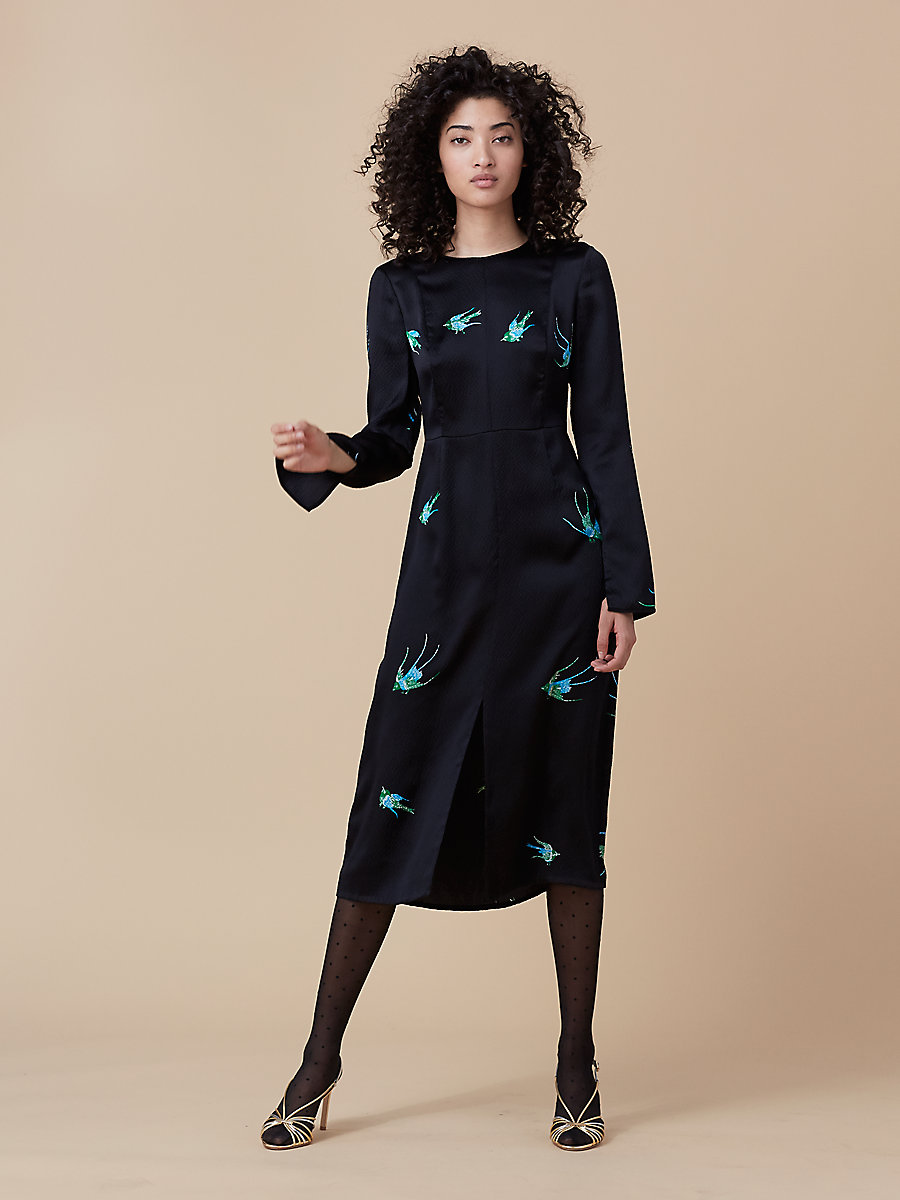 Long Sleeve Crew Neck Dress in Ceres Black/ Black by DVF
