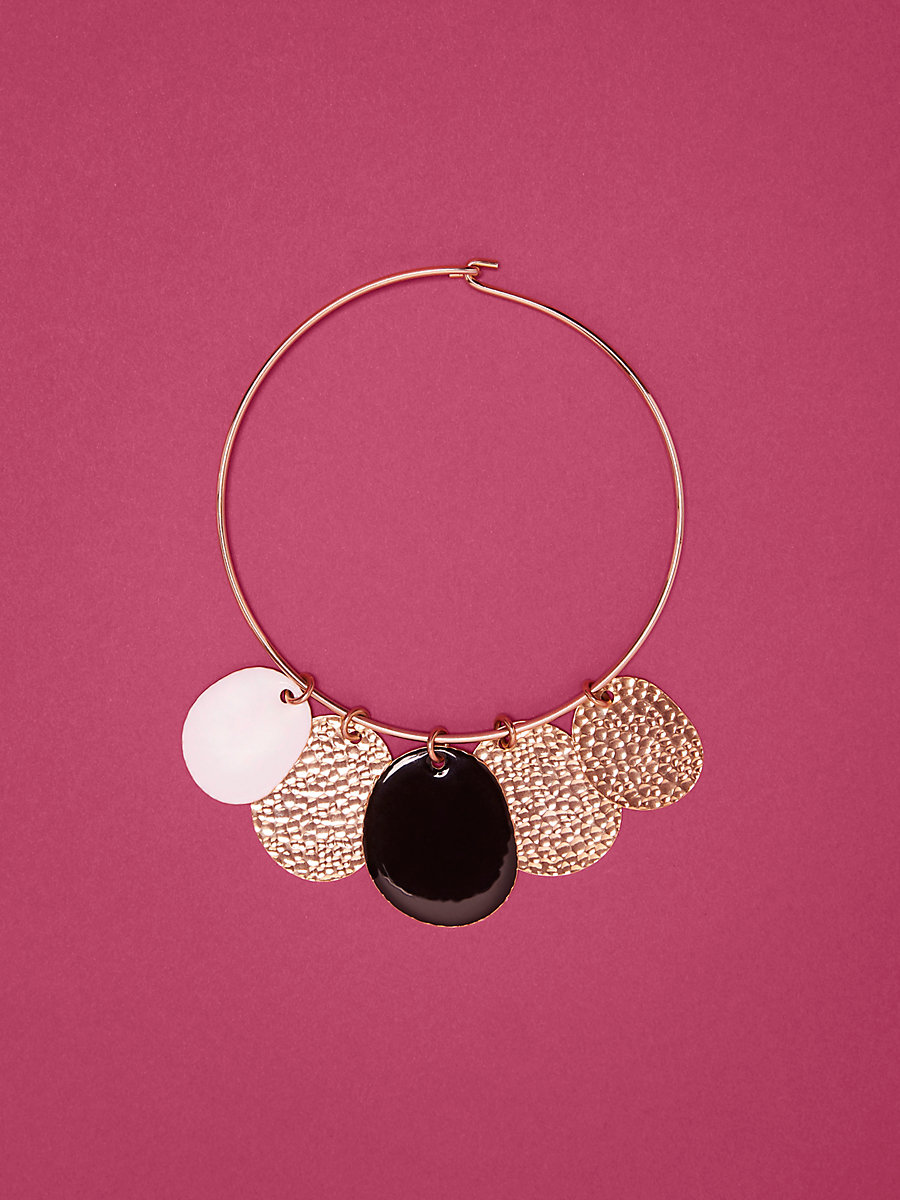 Multi-Disc Choker in Gold/ Black Enamel/ White Enamel by DVF