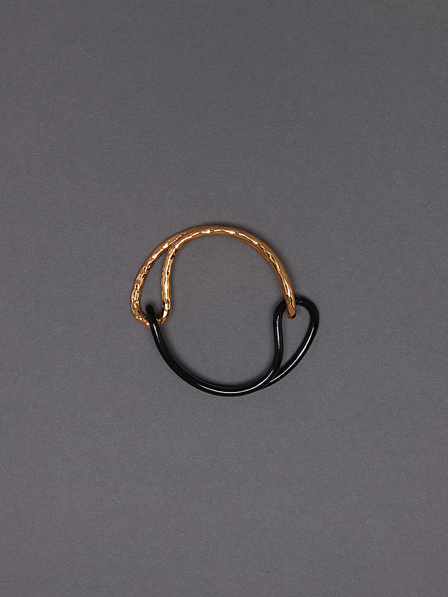 Infinity Bracelet in Gold/black Enamel by DVF