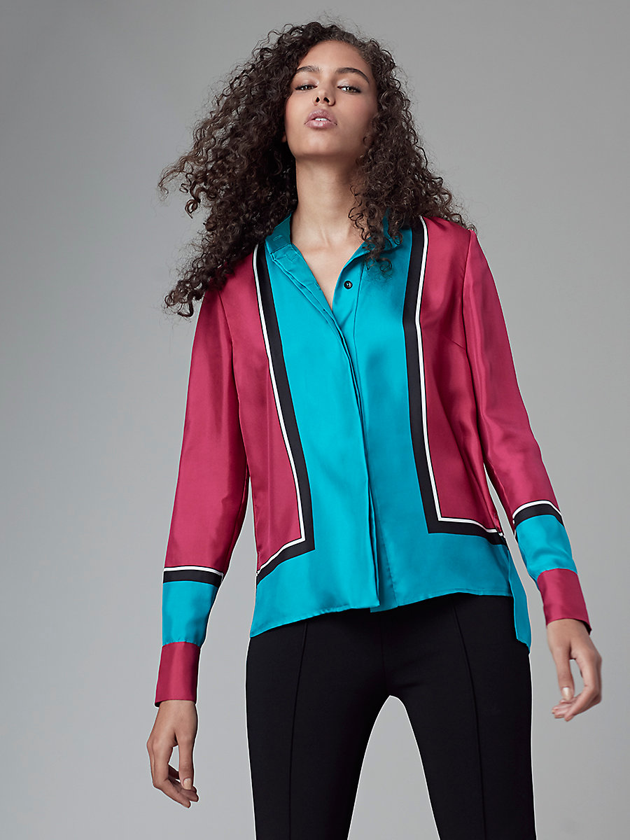 Silk Shirt in Arago Large Cerise/turquoise by DVF
