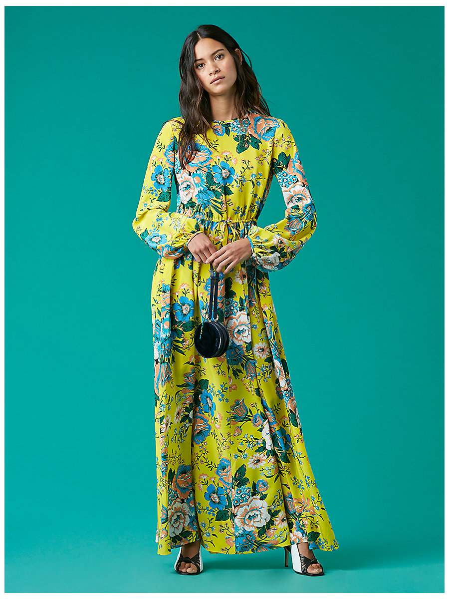 Crew Neck Floor Length Dress in Bournier Acid Yellow by DVF