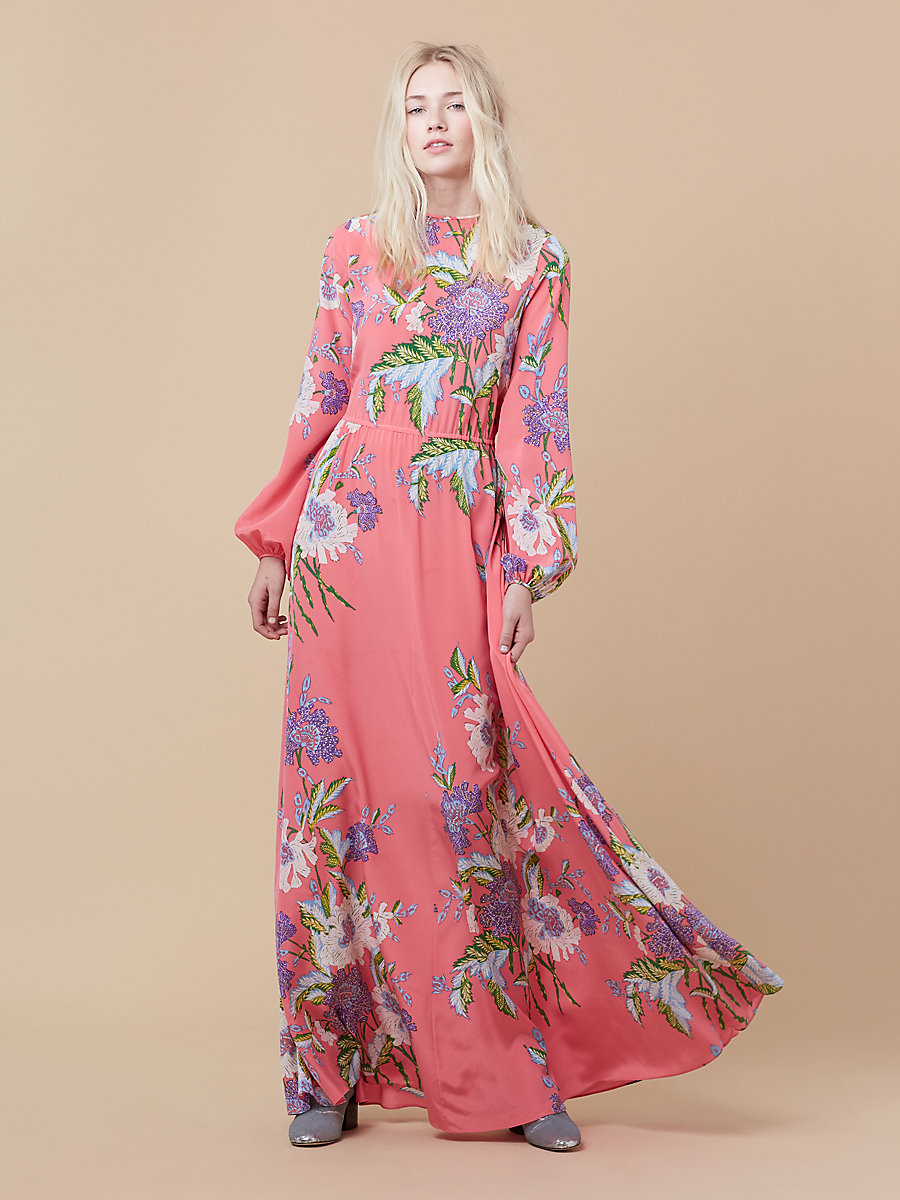 Crew Neck Floor Length Dress in Curzon Pink Coral by DVF