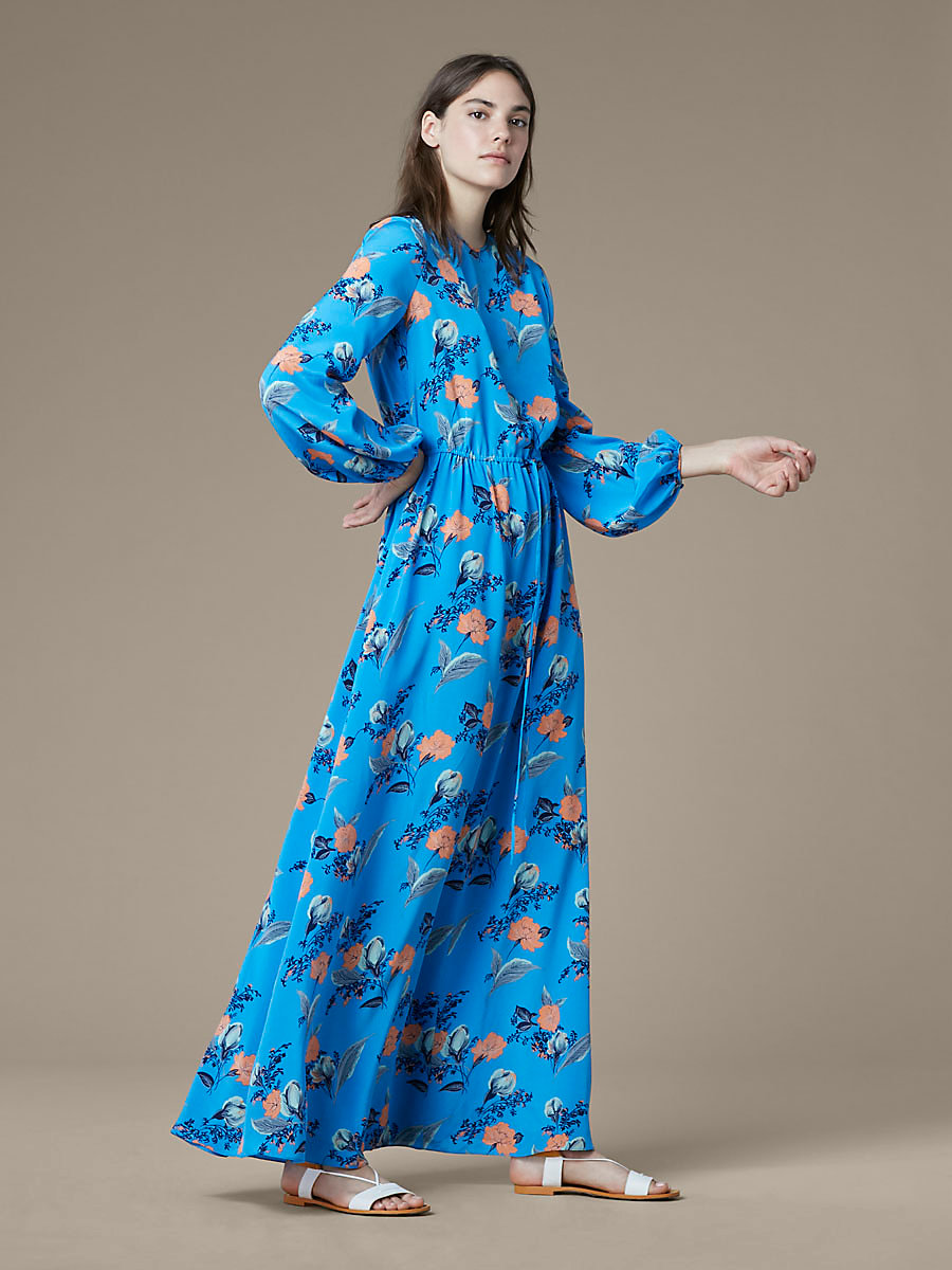 Crew Neck Floor Length Dress in Silese Tile Blue by DVF