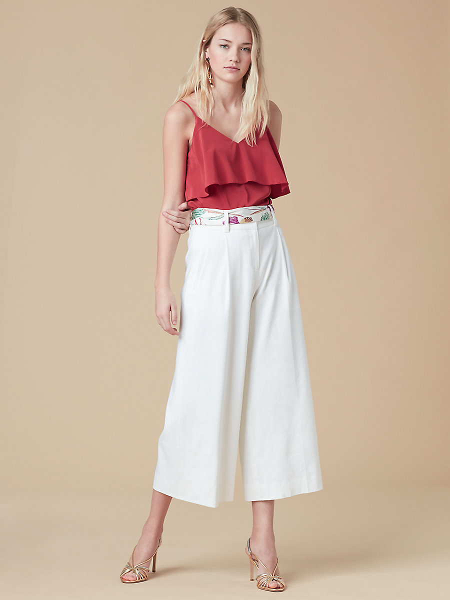 Sleeveless Tiered Cami in Cinnabar by DVF