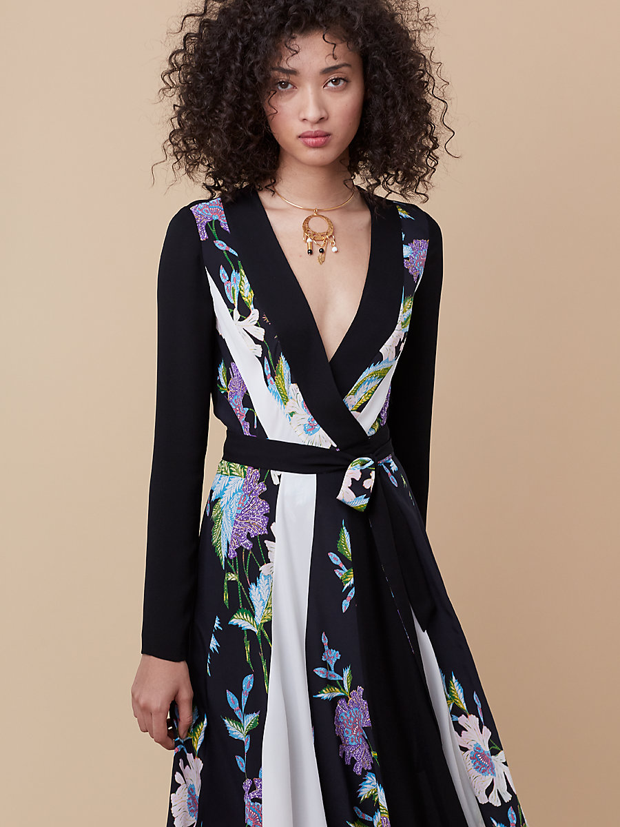 Penelope Wrap Dress in Curzon Black/ Ivory by DVF
