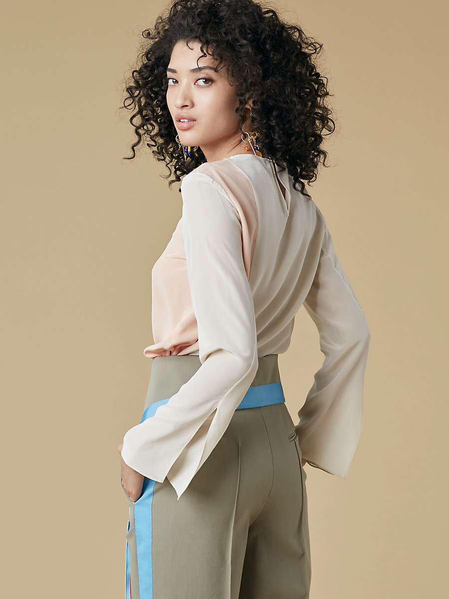 Side Slit Blouse in Parchment/nectar by DVF