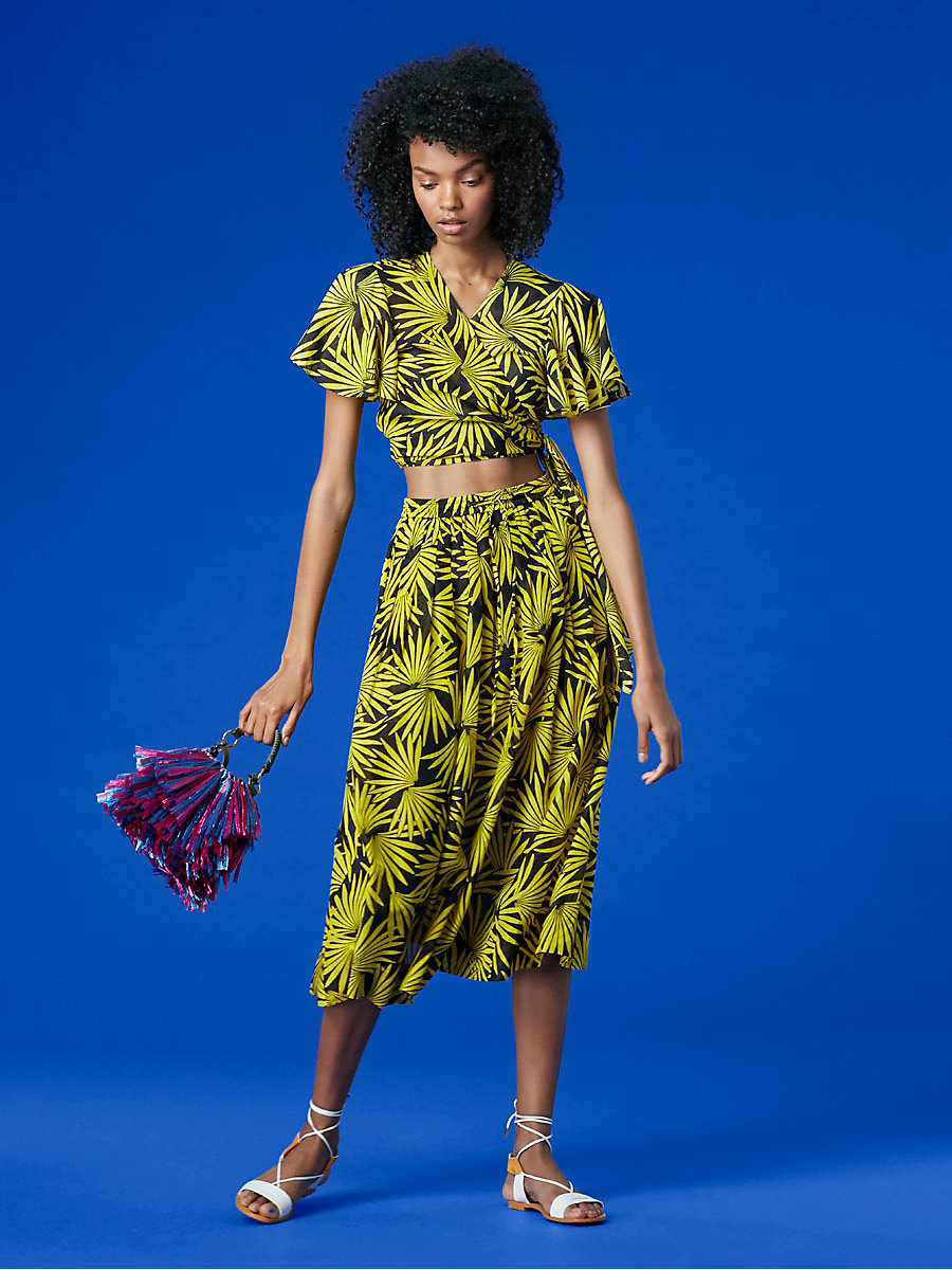 Drawstring Midi Skirt in Hartley Daffodil by DVF
