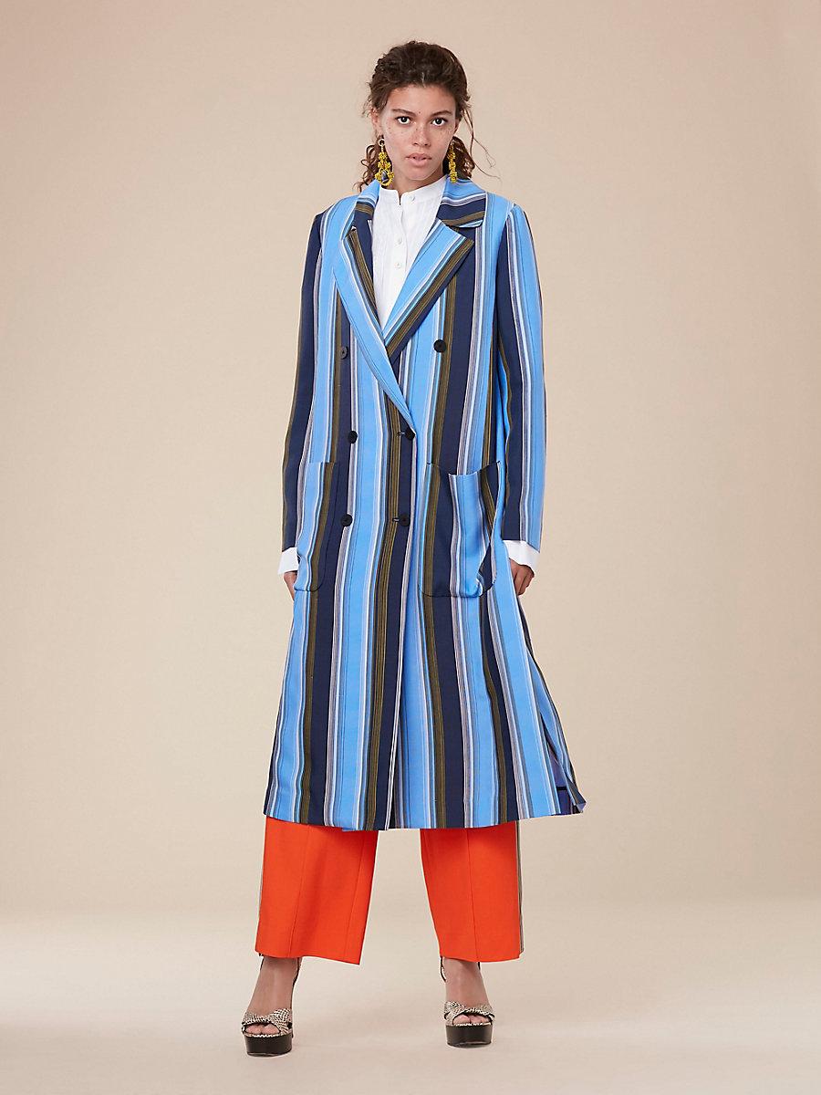 Long-Sleeve Floor-Length Jacket in Sussex Stripe Hydrangea by DVF
