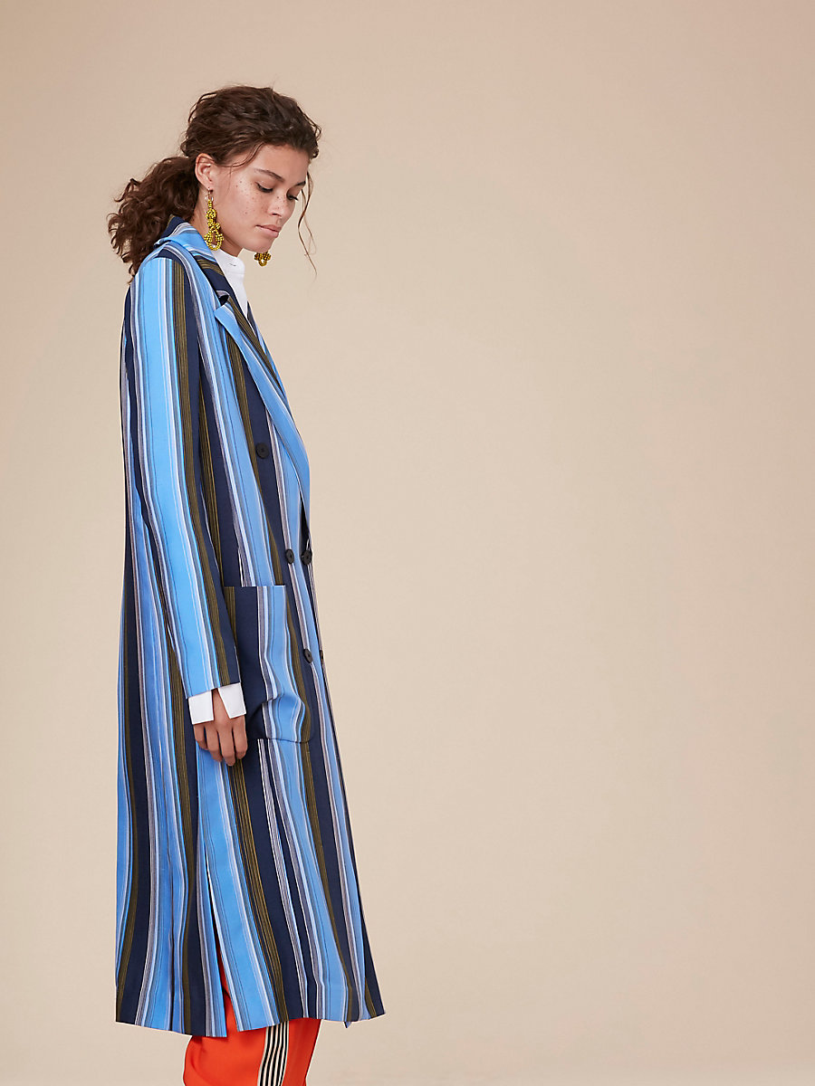 Long-Sleeve Floor-Length Jacket in Sussex Stripe Hydrangea by DVF