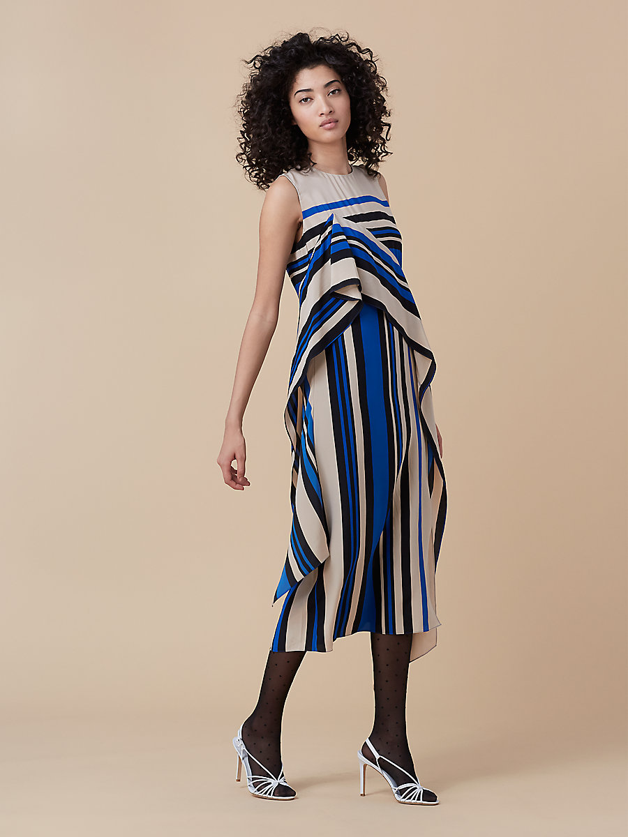 Sleeveless Ruffle Dress in Borel Stripe French Blue by DVF
