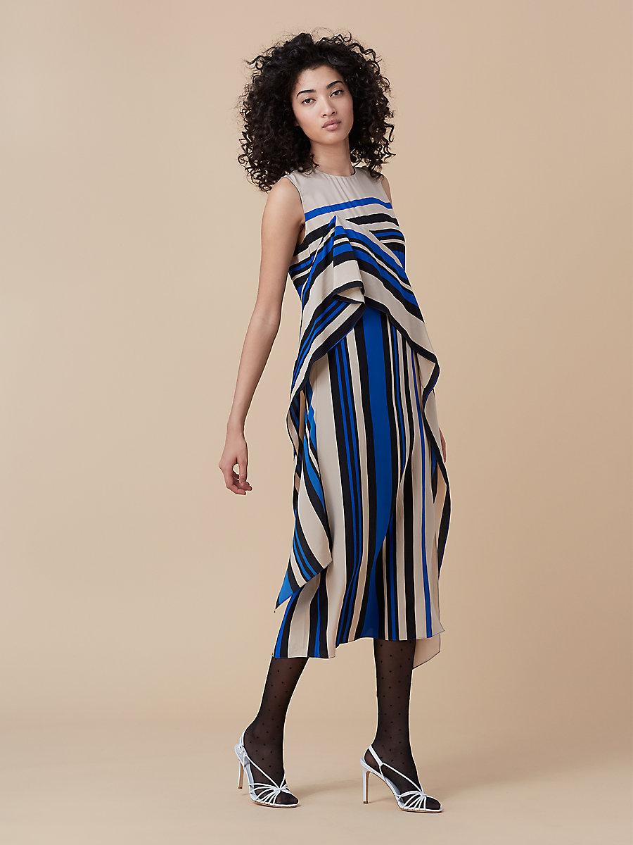 Sleeveless Ruffle Dress in Borel Stripe French Blue by DVF