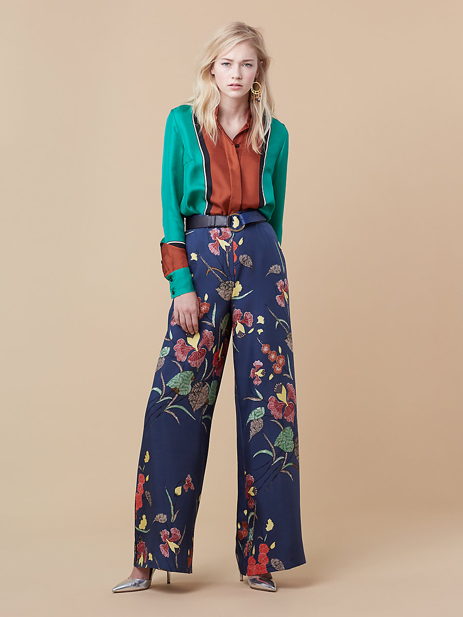Wide Leg Evening Pant in Ampere Indigo/ Black by DVF