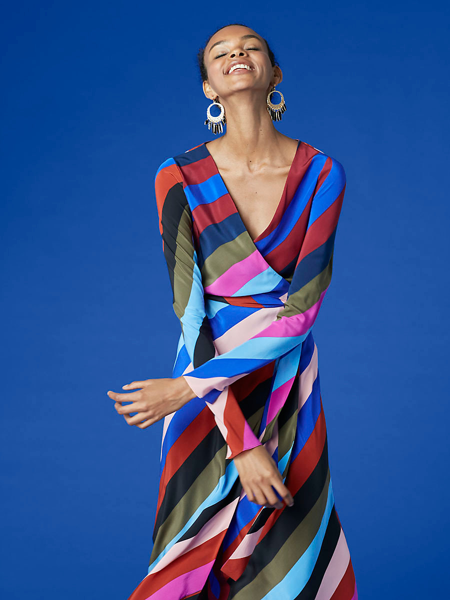 Midi Wrap Dress in Carson Stripe Black Multi by DVF