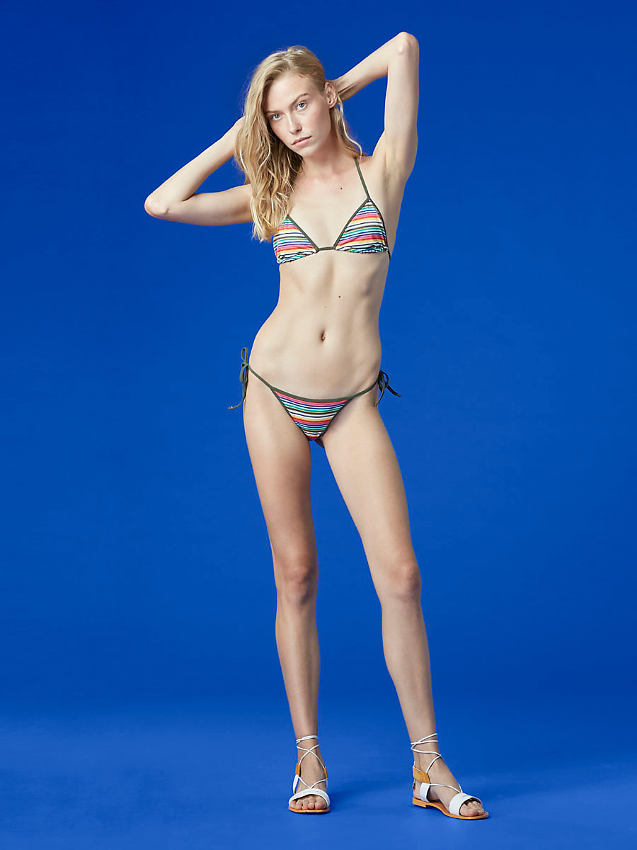 String Bikini Bottom in Metallic Stripe Multi by DVF