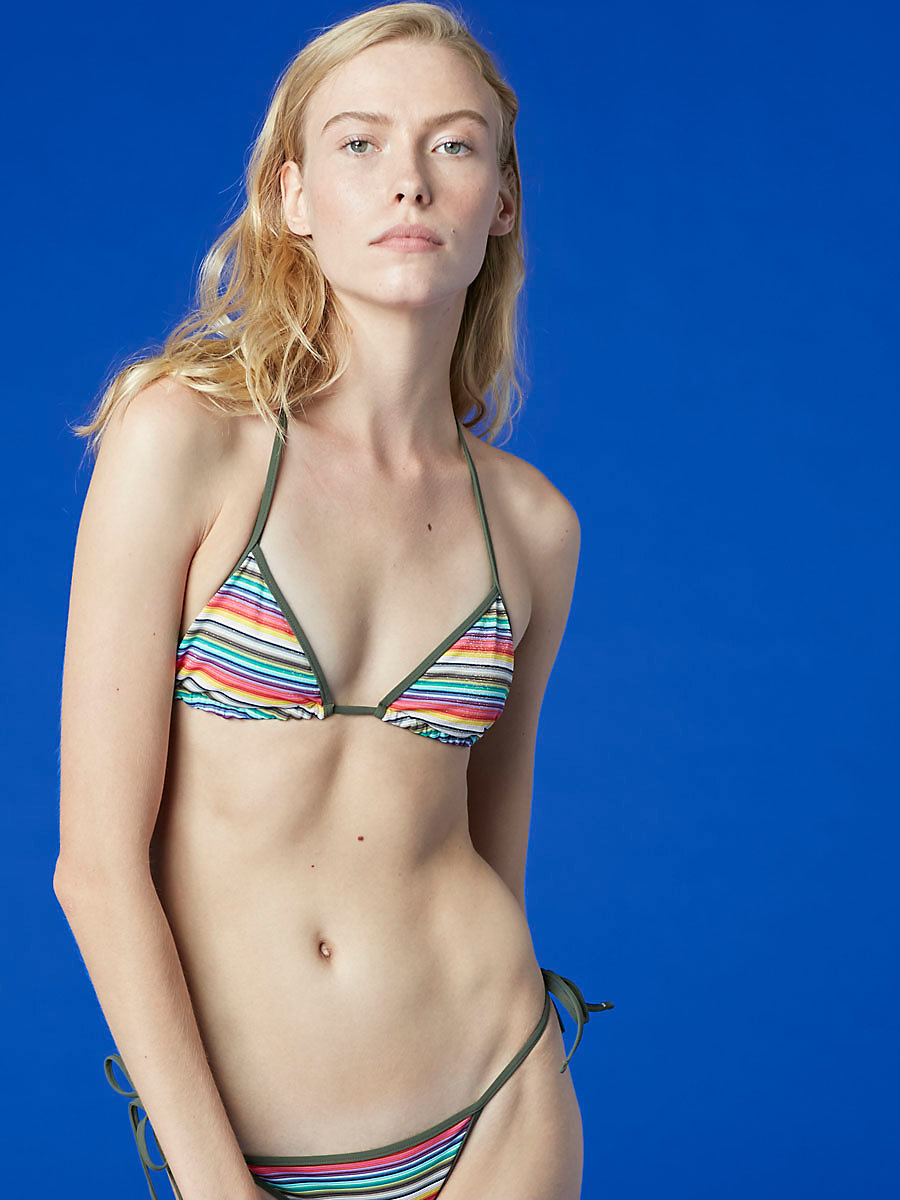 String Bikini Top in in Metallic Stripe Multi by DVF