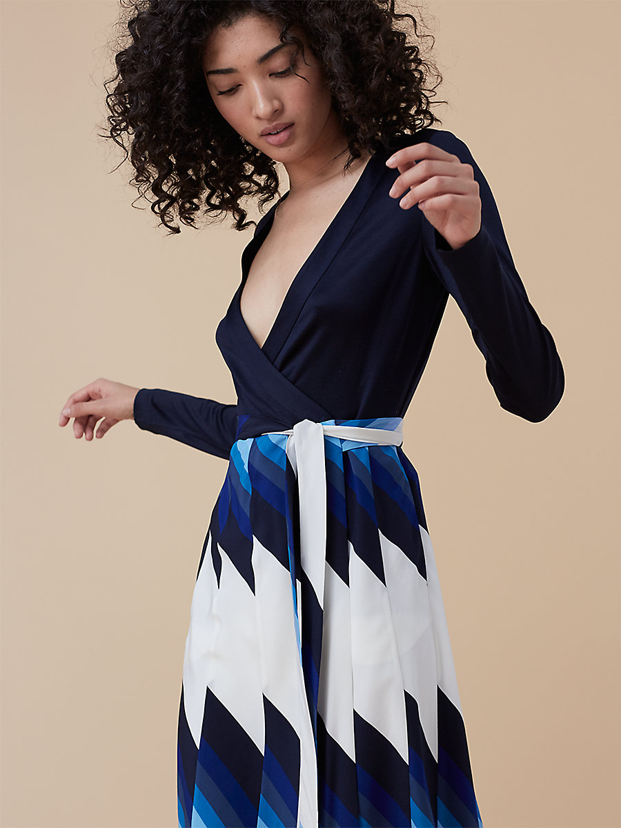 Pleated Wrap Dress in Royale True Blue/ Navy by DVF