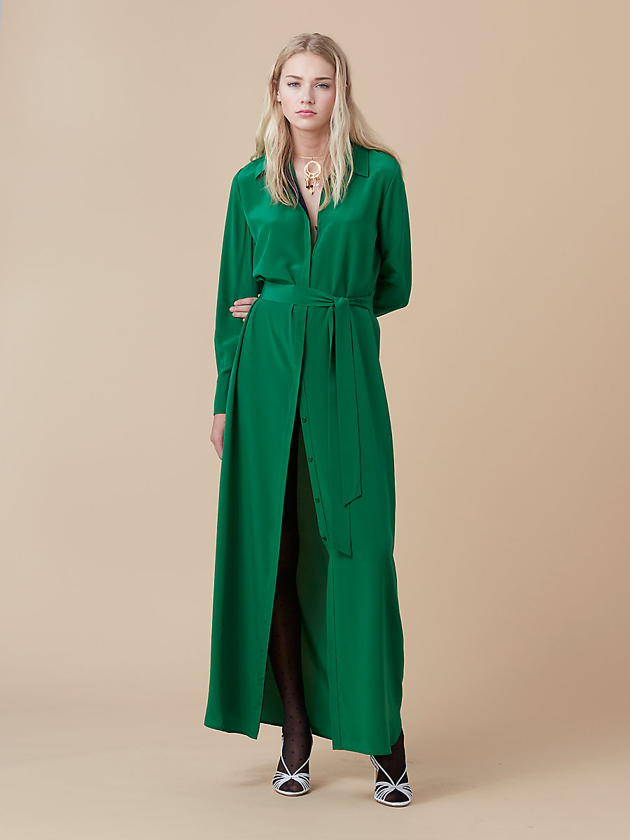 Floor Length Shirt Dress in Green Envy/ Alexander Navy by DVF
