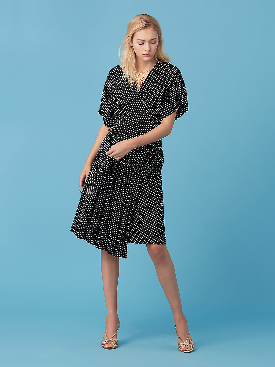 D Ring Wrap Dress in Ferma Black by DVF