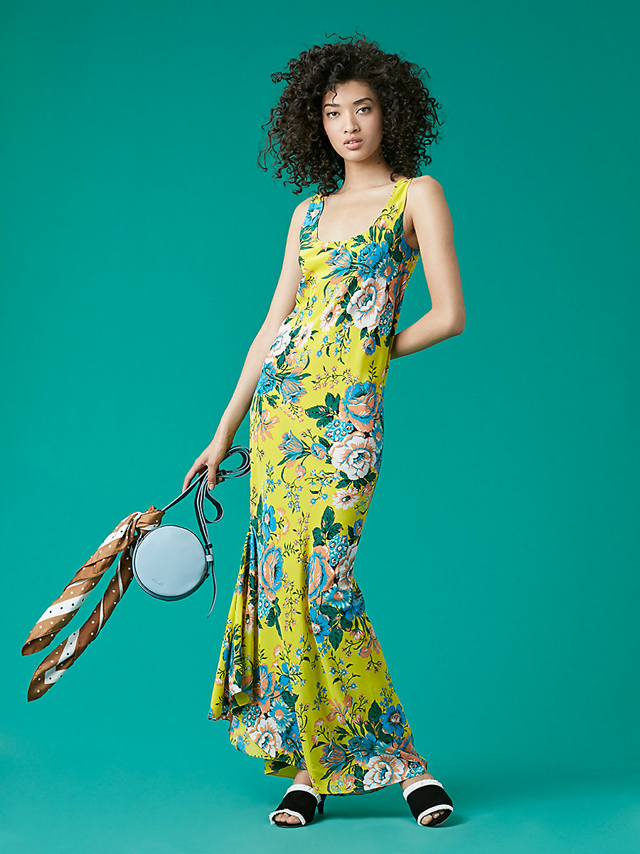 Printed Floor Length Slip Dress in Bournier Acid Yellow by DVF