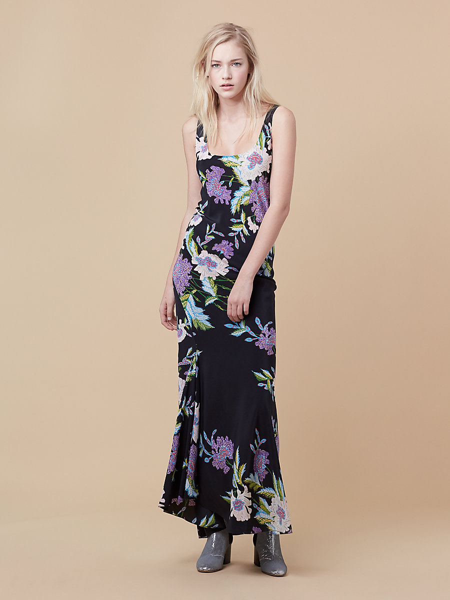 Printed Floor Length Slip Dress in Curzon Black by DVF