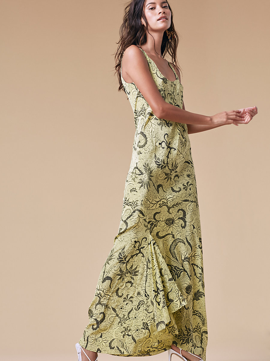 Printed Floor Length Slip Dress in Serret Canary Yellow by DVF