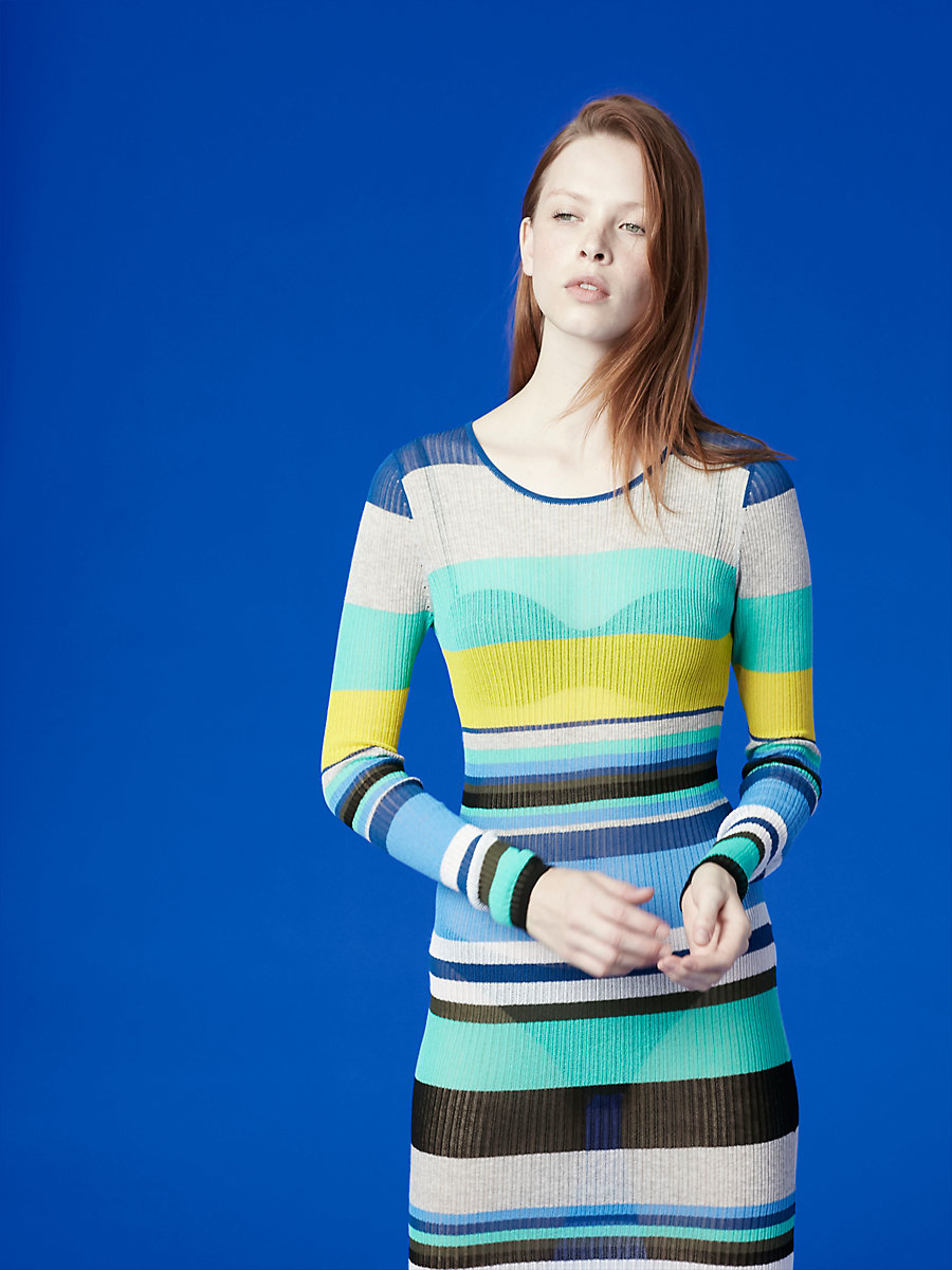 Long-Sleeve Crew Neck Knit Dress in Hydrangea Multi by DVF