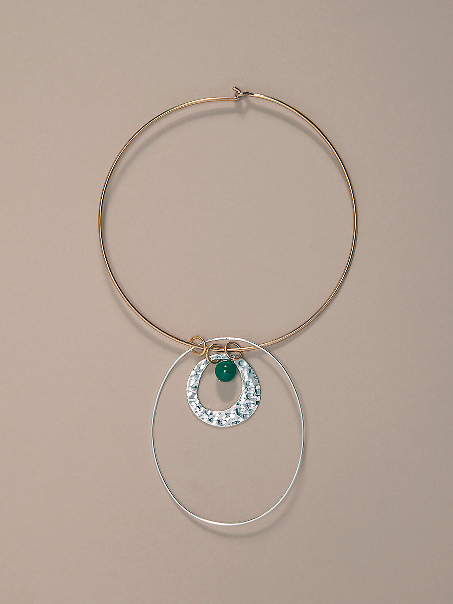 Gold Wire Silver Charm Necklace in Gold/ Silver/ Jade by DVF