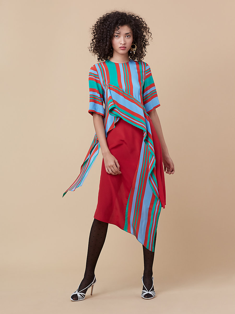 Ruffle Front Dress in Borel Stripe Jade/ Dare Red by DVF