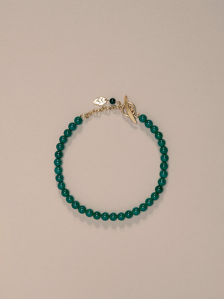 Short Beaded Necklace in Gold/ Jade/ Black by DVF