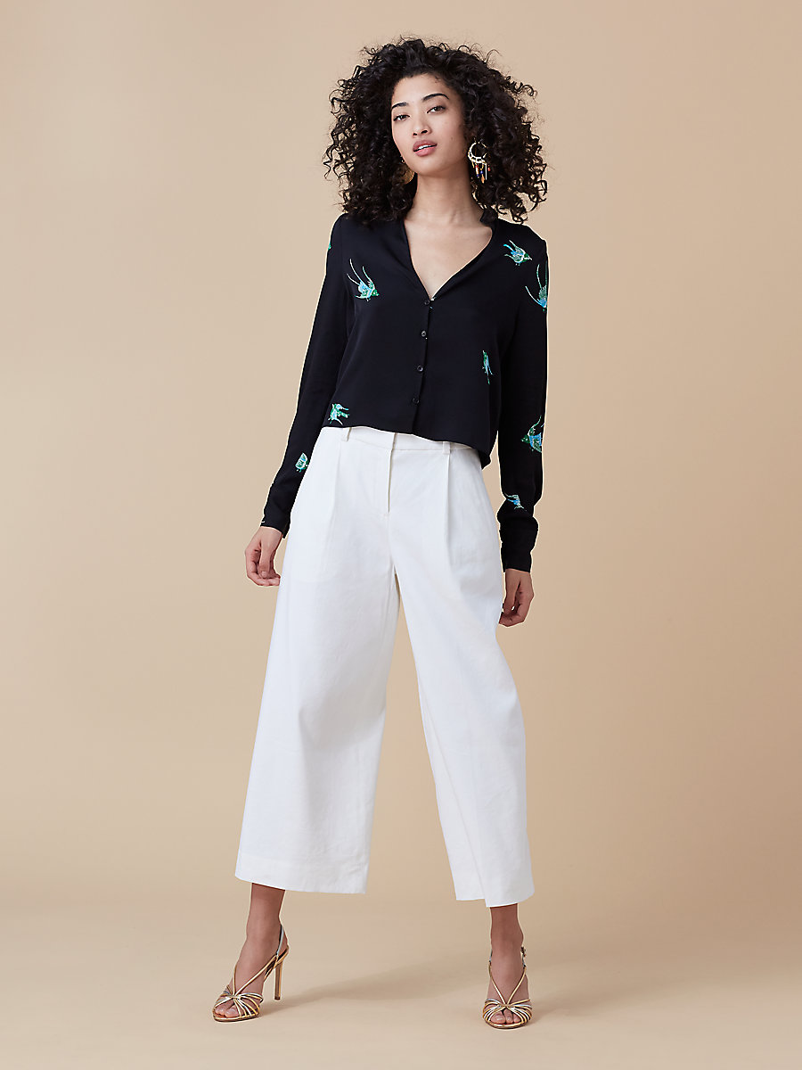 High-Waisted Culotte in White by DVF