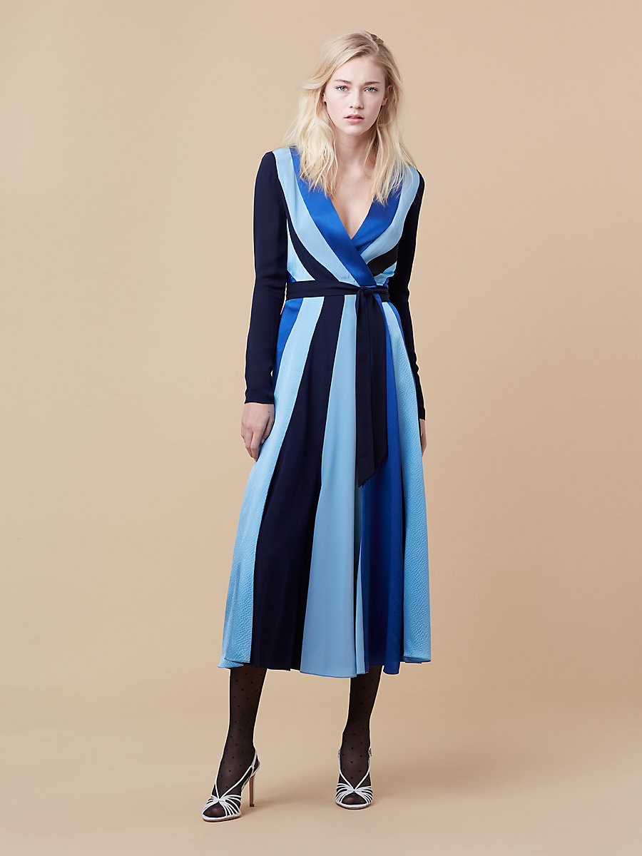 Penelope Wrap Dress in Alexander Navy/ French Blue by DVF