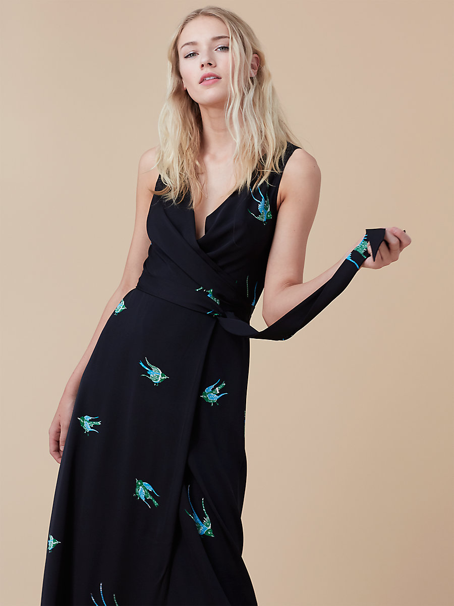 Sleeveless Long Wrap Dress in Ceres Black by DVF