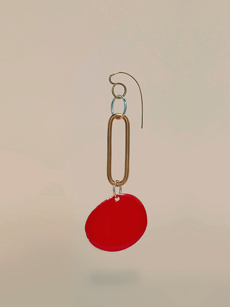 Red Disc Long Earring in Gold/ Silver/ Bright Red by DVF
