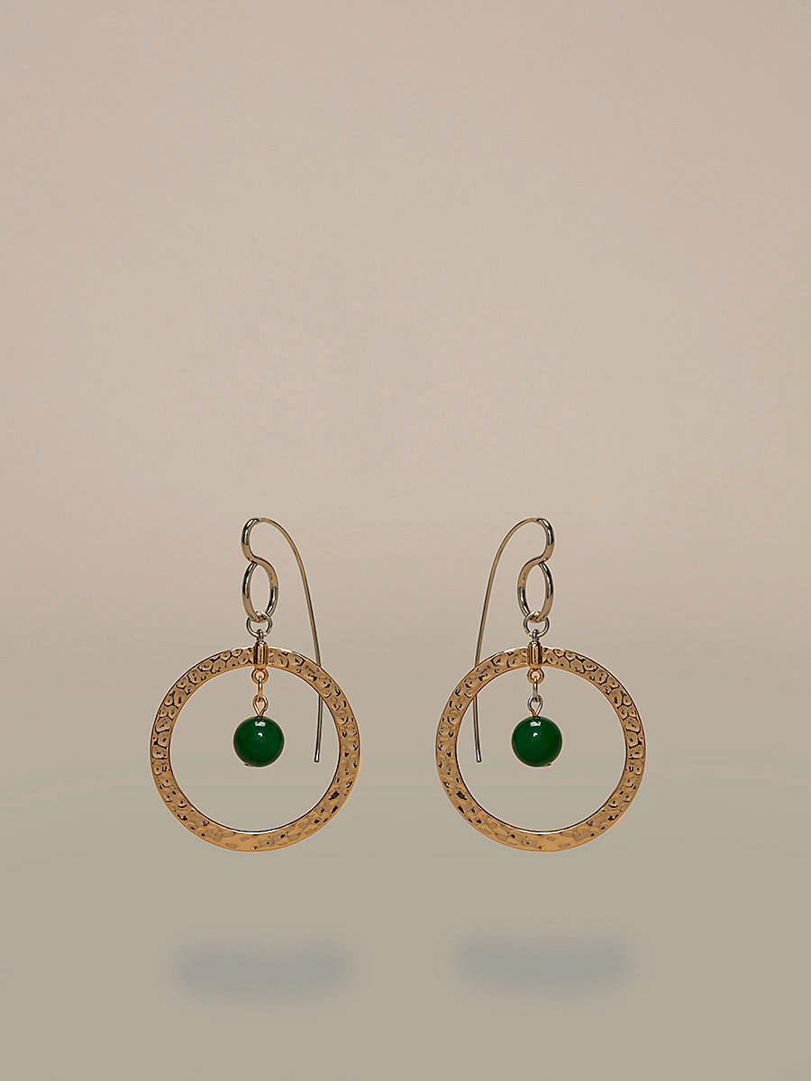 Gold Hoop Beaded Earrings in Gold/ Jade by DVF