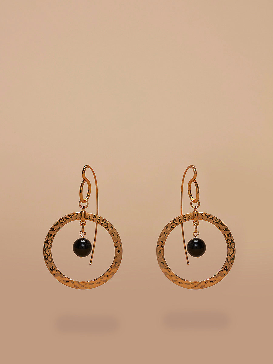 Gold Hoop Beaded Earrings in Gold/ Black by DVF