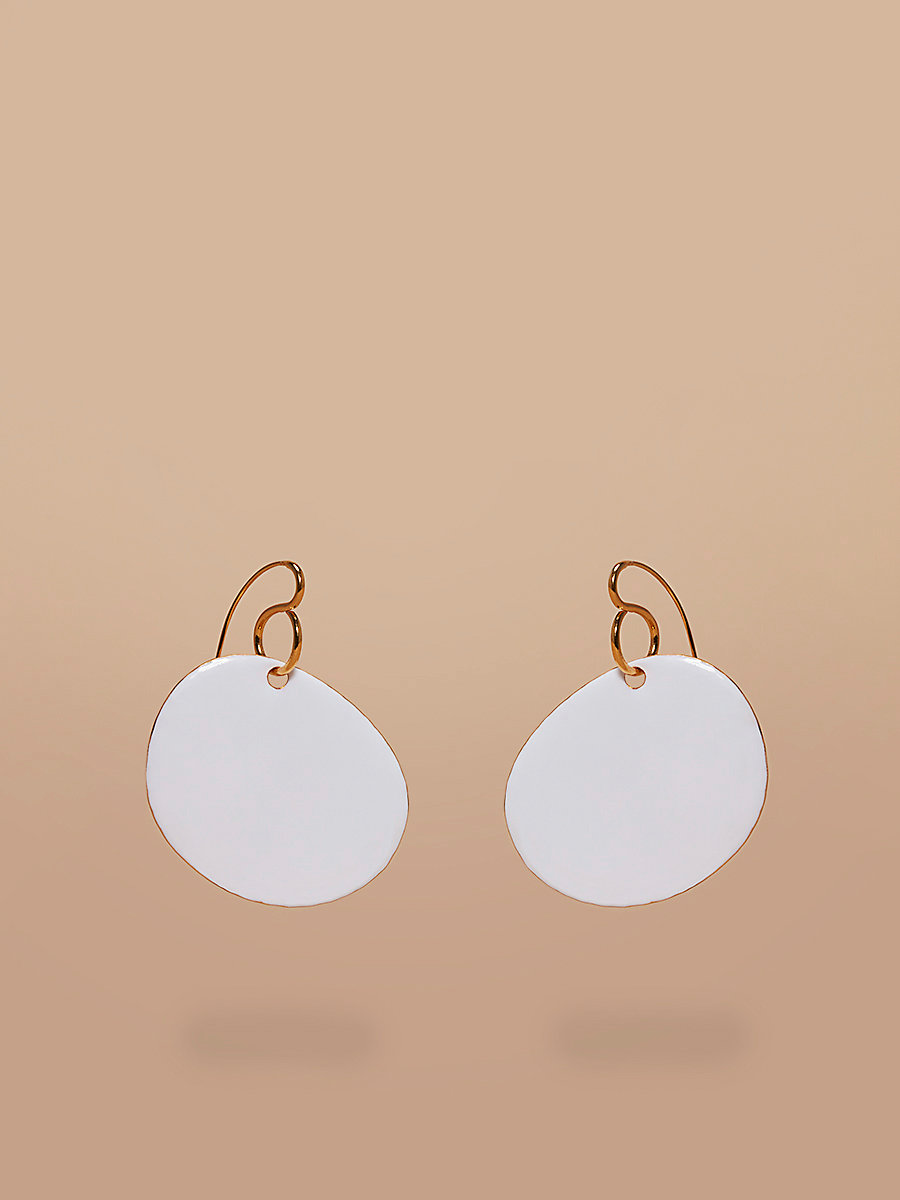 Flat Disc Earrings in Gold/ Ivory by DVF