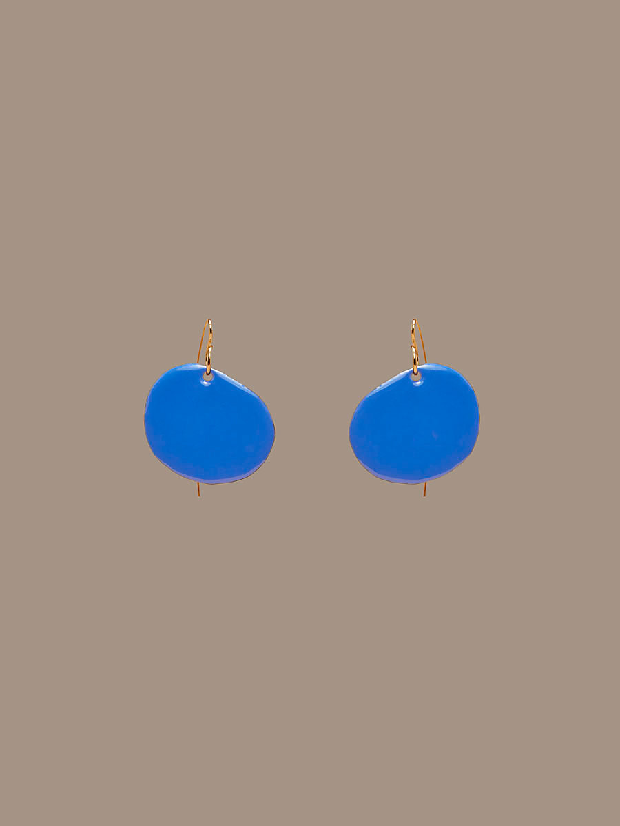 Flat Disc Earrings in Gold/ Royal by DVF