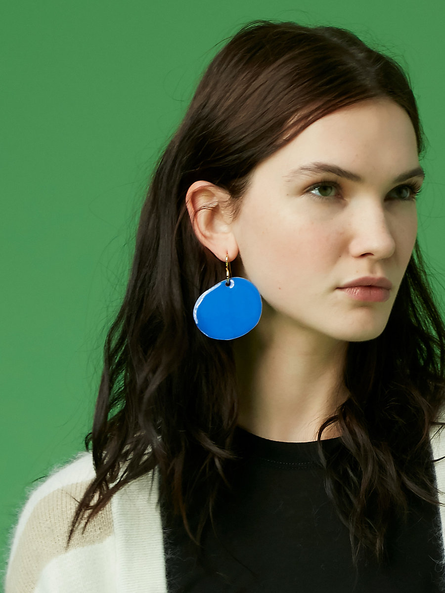Flat Disc Earrings in Gold/ Royal by DVF