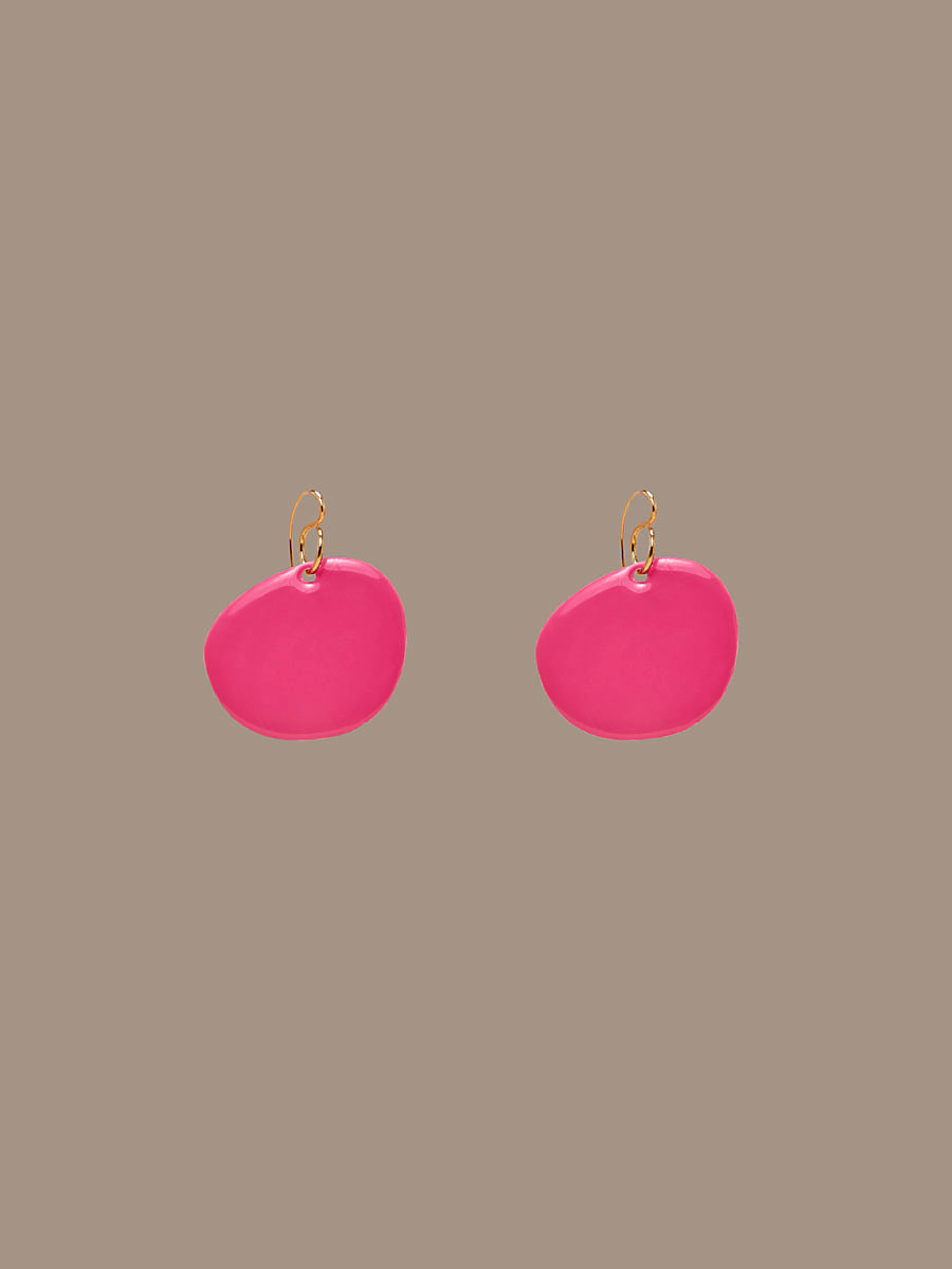 Flat Disc Earrings in Gold/ Azalea Pink by DVF