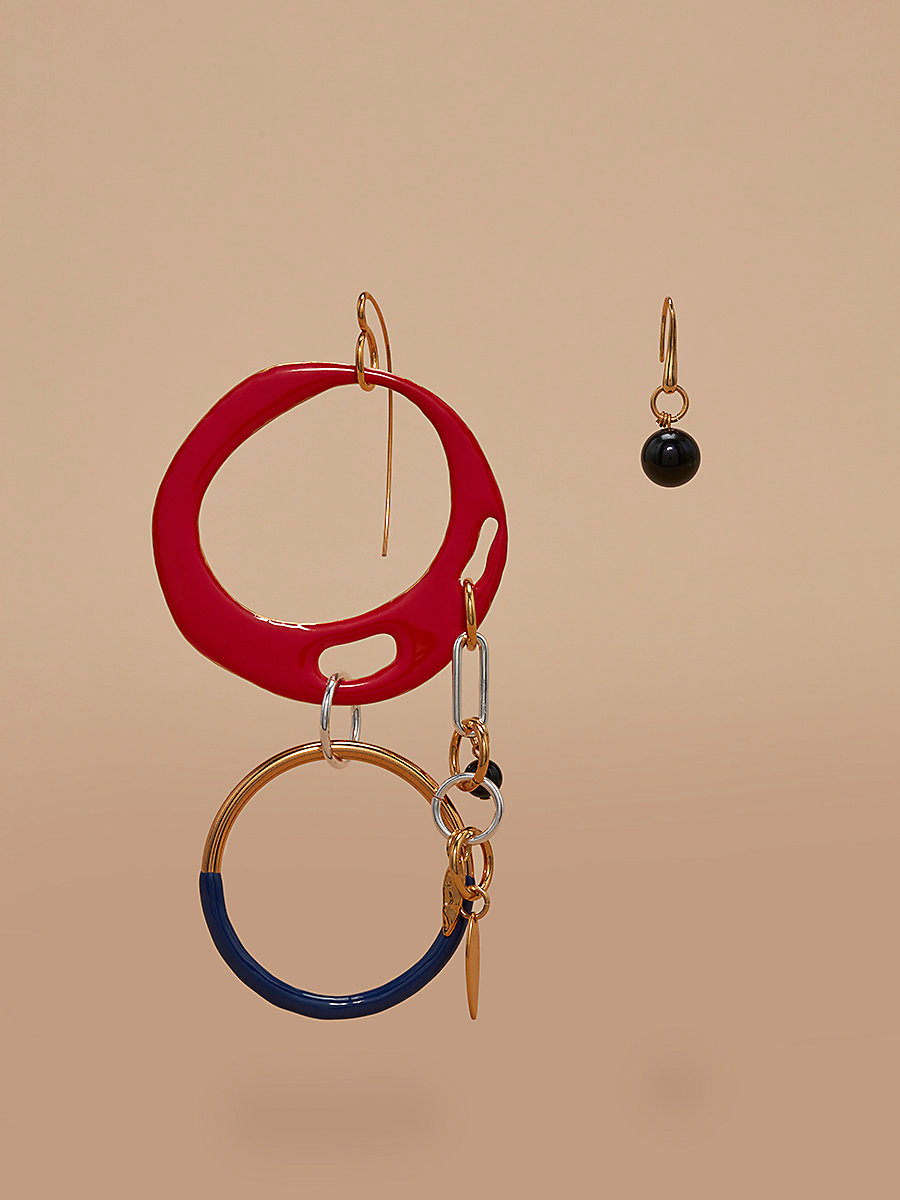Asymmetric Two Ring Charm Earrings in Bright Red Multi by DVF