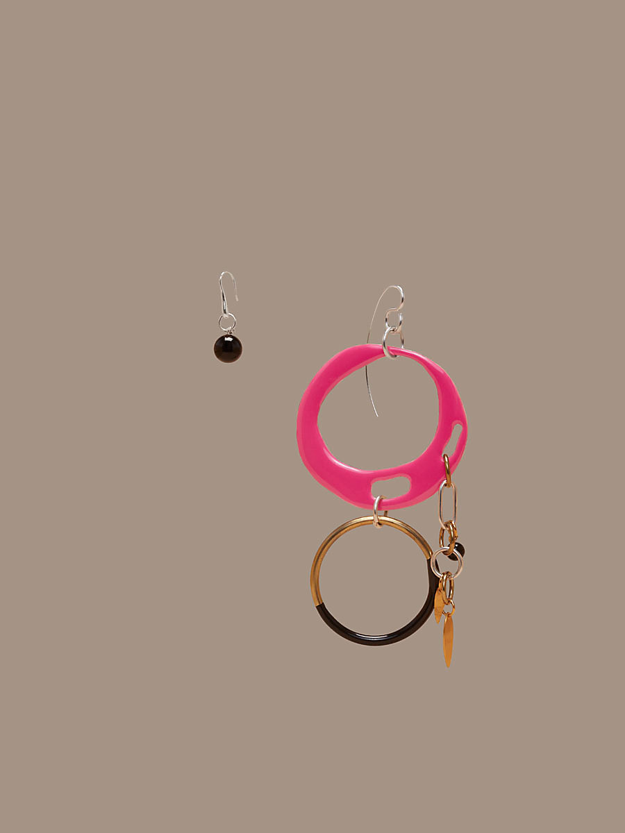 Asymmetric Two Ring Charm Earrings in Azalea Pink Multi by DVF