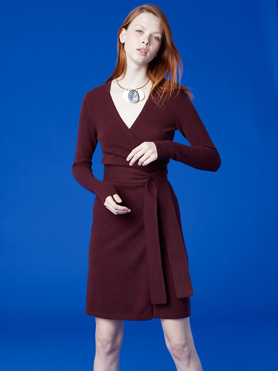 Linda Cashmere Knit Wrap Dress in Bordeaux by DVF