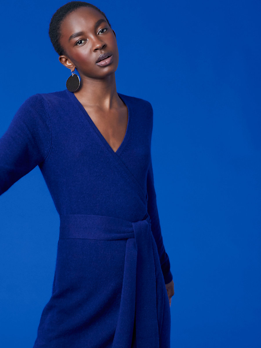 Linda Cashmere Knit Wrap Dress in Cobalt Blue by DVF