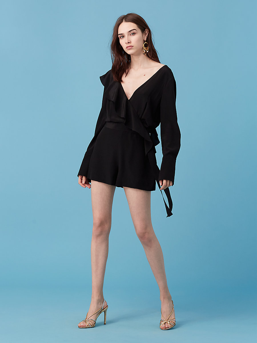 Long Sleeve Ruffle Romper in Black by DVF