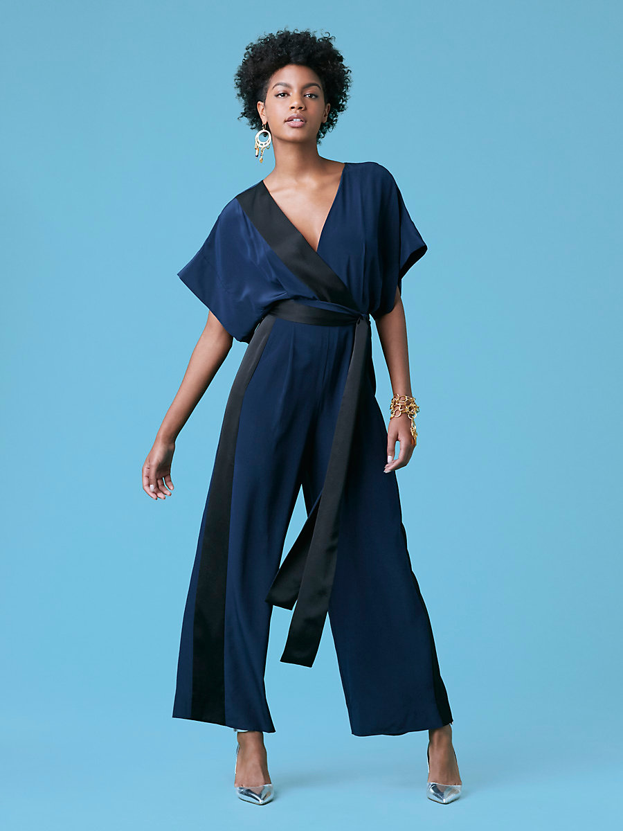 Faux Wrap Jumpsuit in Alexander Navy/ Black by DVF
