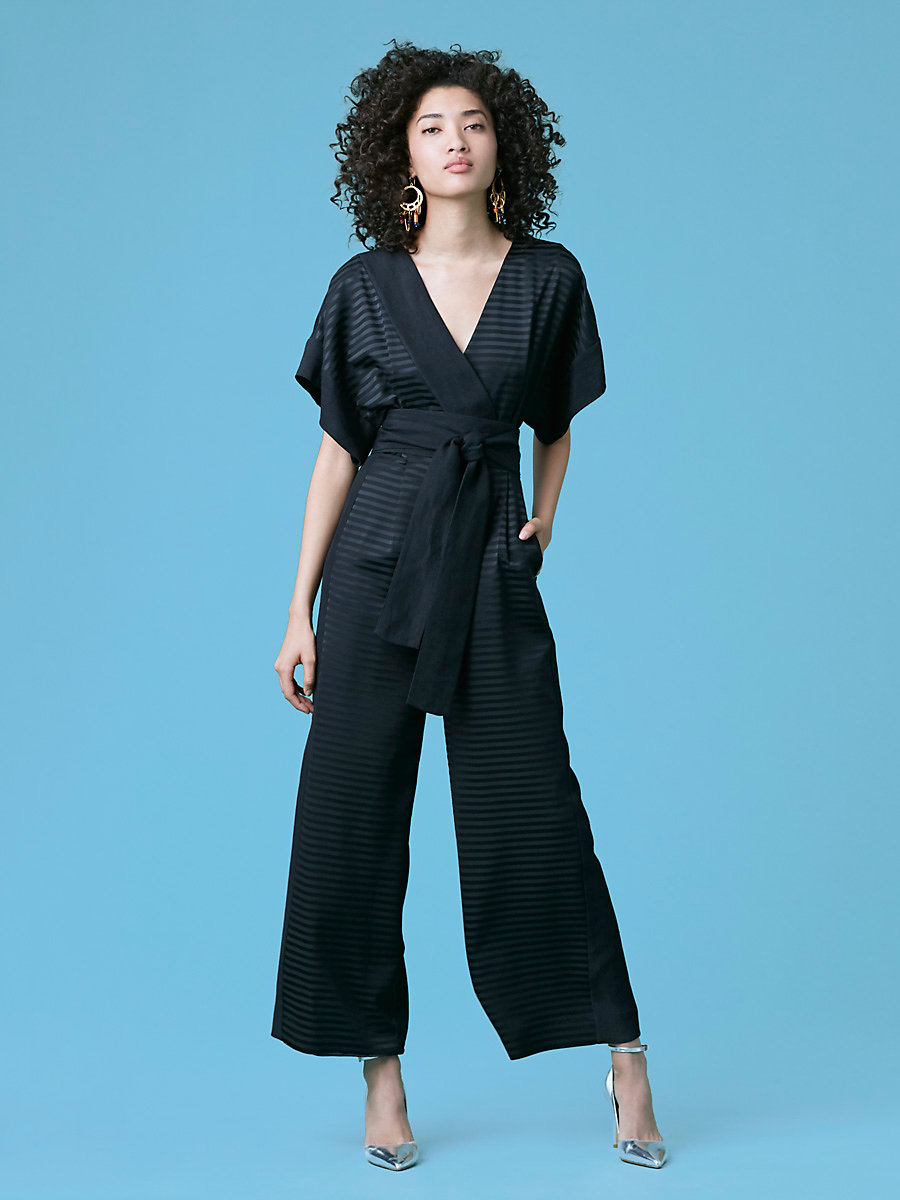 Faux Wrap Jumpsuit in Black/ Black by DVF
