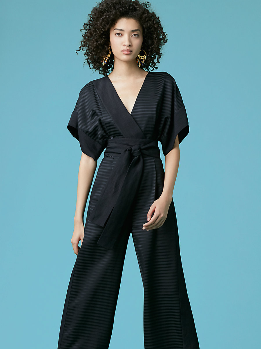Faux Wrap Jumpsuit in Black/ Black by DVF