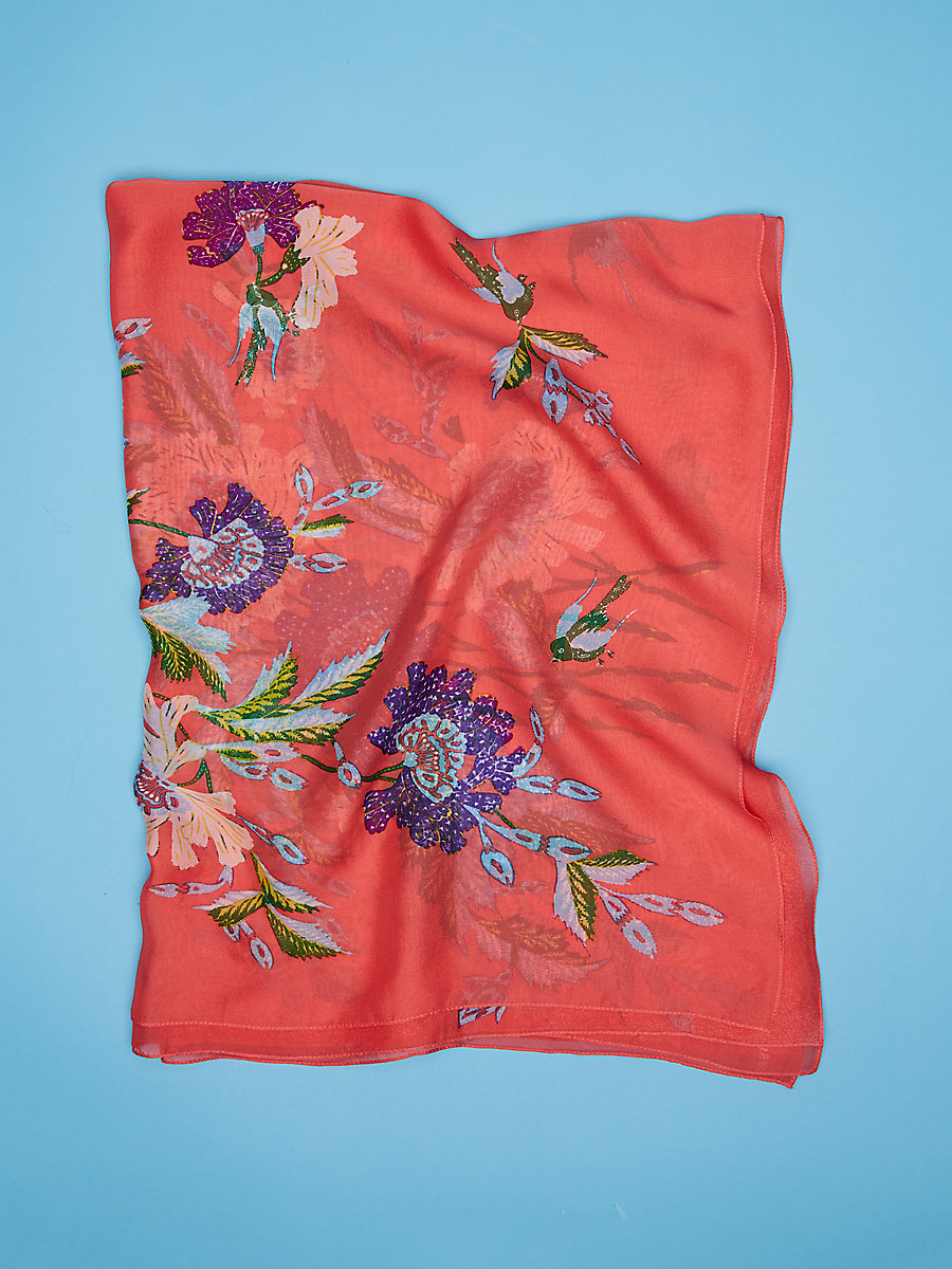 Curzon Soft Chiffon Scarf in Curzon Coral Rose Kaleidoscope by DVF