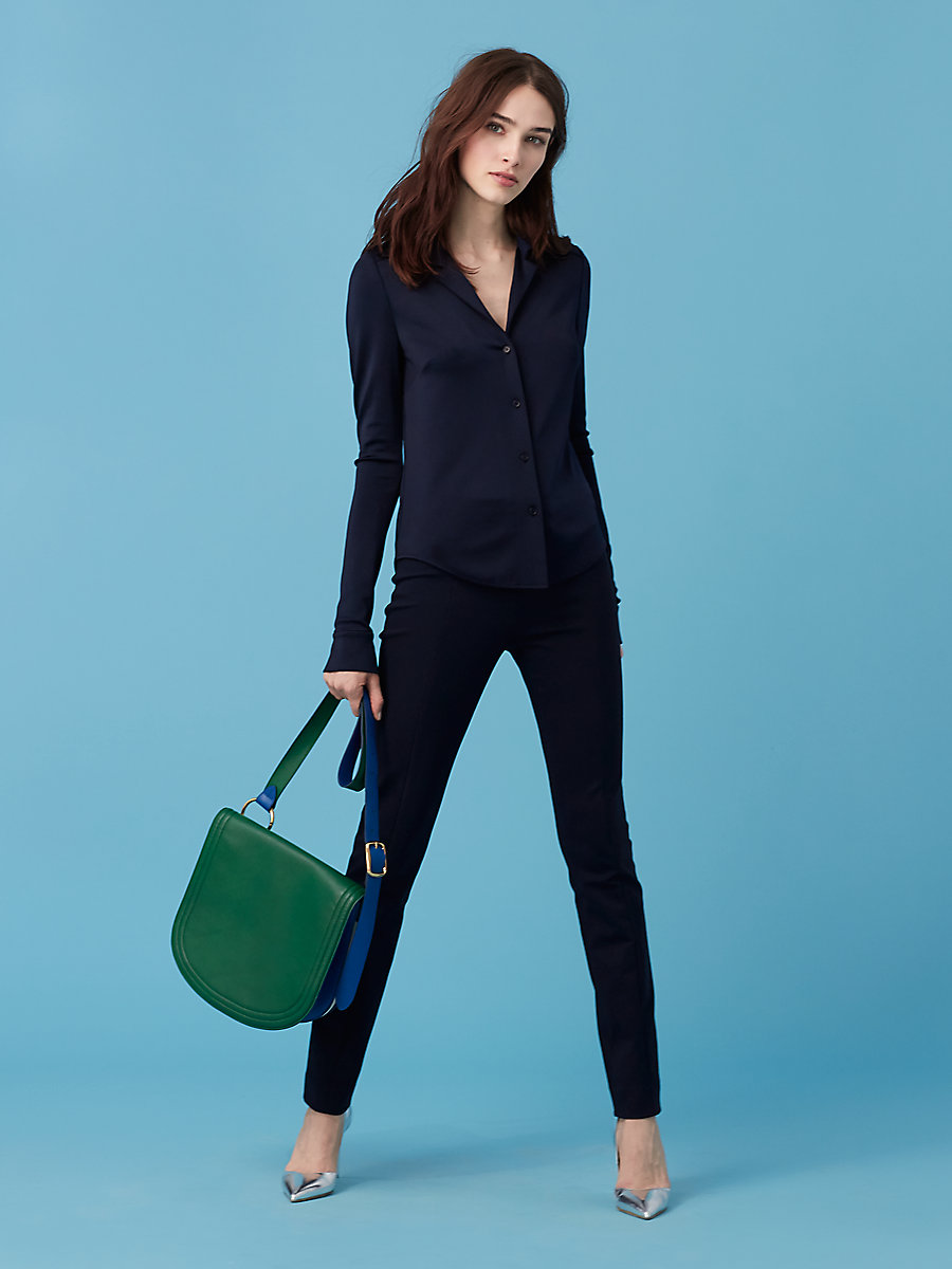 Fitted Shirt in Alexander Navy by DVF